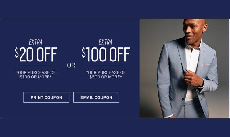In-Store Offer: $20 off $100 or $100 off $500 discount coupon at Men's Wearhouse