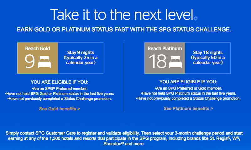 starwood preferred guest status challenge