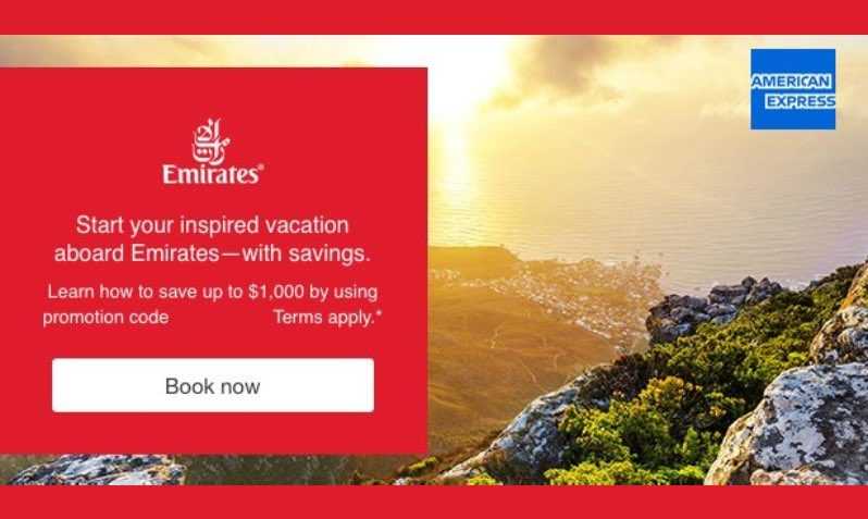 Upto $1000 Off Coupon on Emirates Airlines Flights for American Express