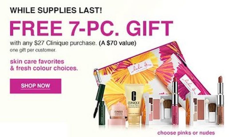 Free 7-piece gift with any Clinique purchase at Bloomingdales