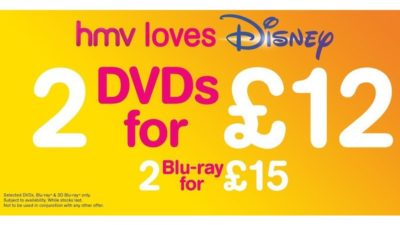 2 DVDs for £12 or 2 Blu-ray for £15