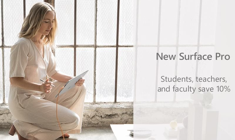 Student sale 10% Surface pro