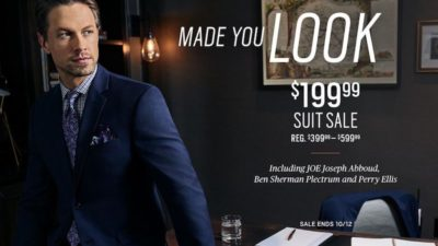 $199.99 Suit SALE at Men's Wearhouse