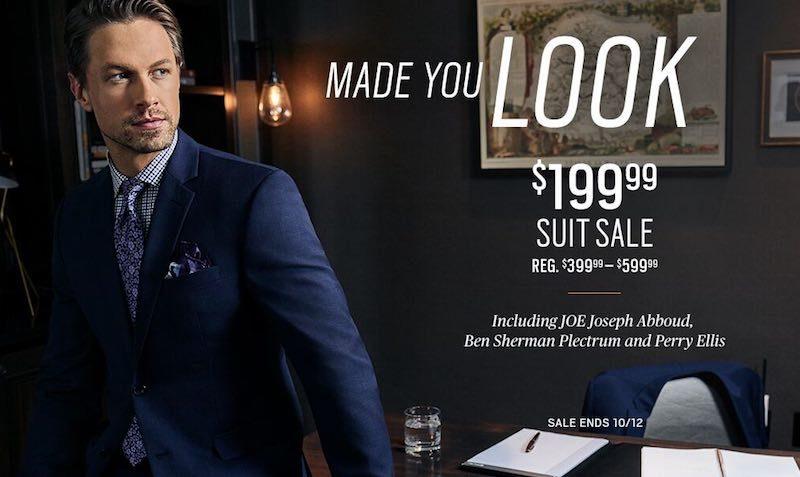 $199.99 Suit SALE at Men's Wearhouse