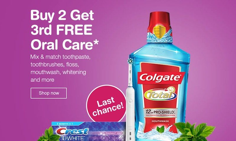 Buy 2 Get 3rd FREE on Oral Care at Walgreens
