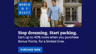 Buy Hyatt Gold Passport points and get up to 50% bonus. Offer available until Dec 15