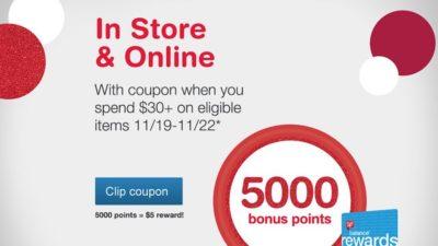 Get 5,000 Bonus Points on Orders $30+ (5K points = $5 value!)