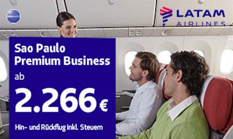 Latam airlines just launched a special offer for Germany - Santiago de Chile and Germany - Sao Paulo for the Premium Business class from 2.266 euros. Banners have been uploaded in the platform for this offer: