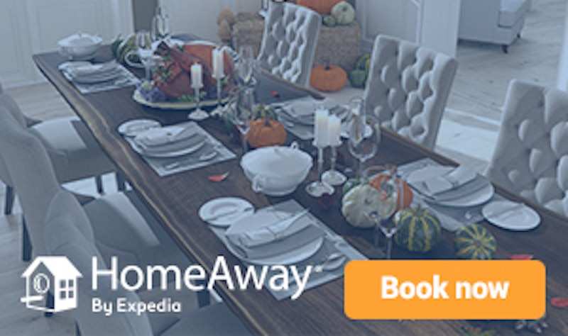 Thanksgiving SALE: Get 8% off accommodation with HomeAway when you use at checkout.
