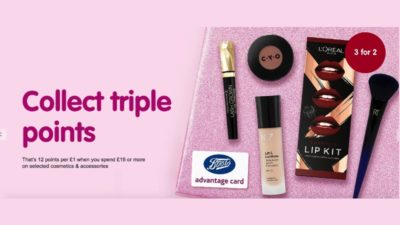 Triple Points on Cosmetics and Accessories at Boots