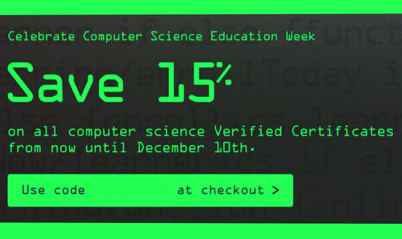 15% Off Discount Coupon on Verified Certificate of Computer Science courses at edX
