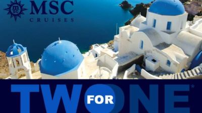 2 for 1 for Mediterranean Cruises