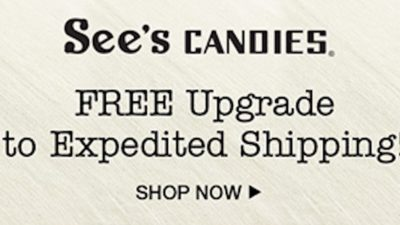See's Candies FREE 2-Day Shipping Upgrade Starts 12/15!