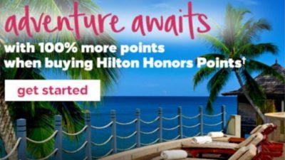 Upto 100% BONUS Hilton Honors Points on Points.com