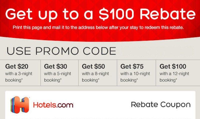 100 Cash Back Rebate Coupon At Hotels