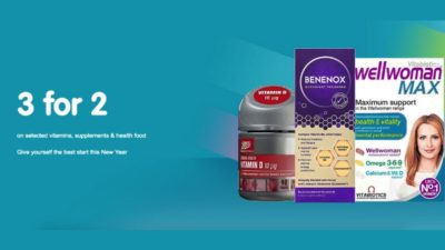 3 for 2 mix and match on selected vitamins, supplements, complimentary medicines and health foods - cheapest free