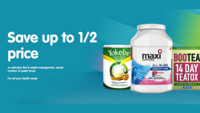 Save up to 1/2 price on selected diet and weight management, sports nutrition and health foods