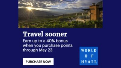 Until May 23rd, buy World of Hyatt points and get 40% bonus points.
