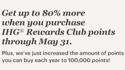 Up to 80% bonus points when you buy IHG Rewards Club points.