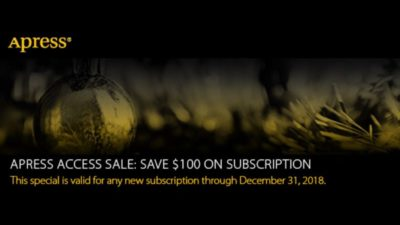 Apress Access Sale: Apress Access subscription for only $/€/£ 99.
