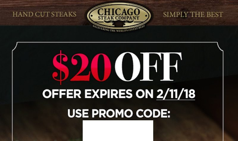 Take $20 Off Your Order chicago steak company