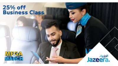 25% Off SALE on Business Class on Jazeera Airways