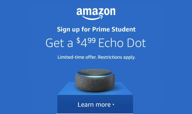 $4.99 Echo Dot DEAL for Amazon Prime Members