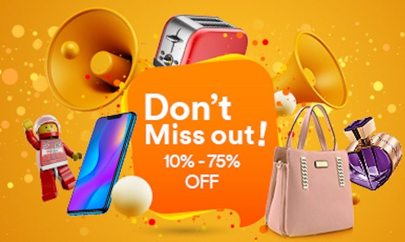 """Don't Miss out"" is the biggest sale in August, with discounts from 10% to 75% on Electronics, Personal care, Perfumes, Handbags and more!"
