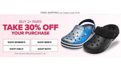 Buy 2+ Pairs Take 30% Off Your Purchase CROCS
