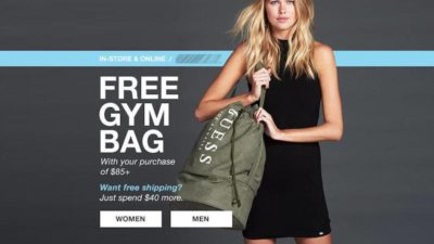 Free Gym Bag On Orders $125+ at GUESS Canada