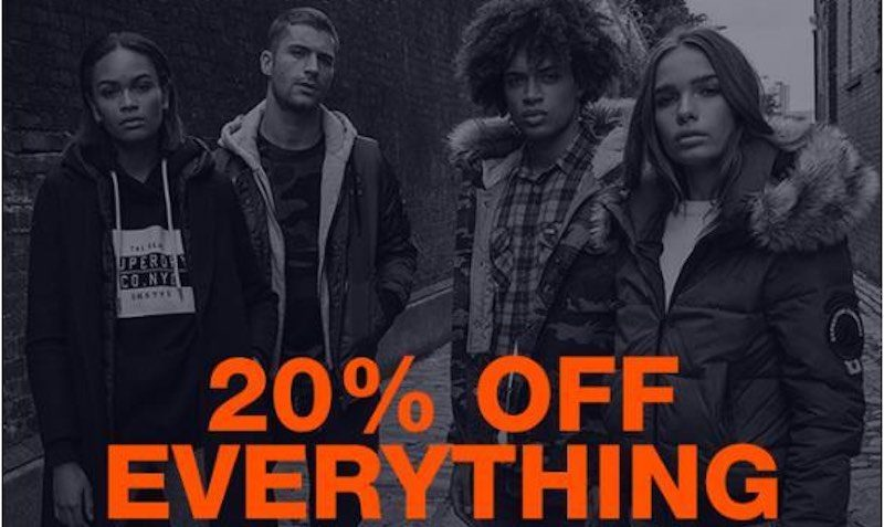20% off everything at Superdry Promo Code Discount Coupon