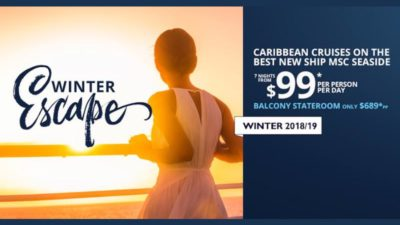 $99 Caribbean Cruise Winter Escape Discount SALE at MSC Cruises