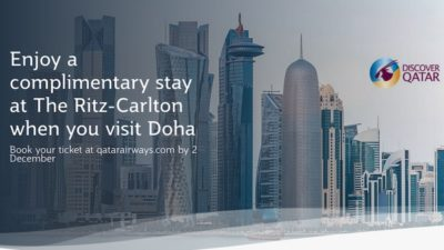 Complimentary Ritz Carlton Doha Stay SALE on Qatar Airways Flights