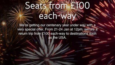 £100 SALE at British Airways