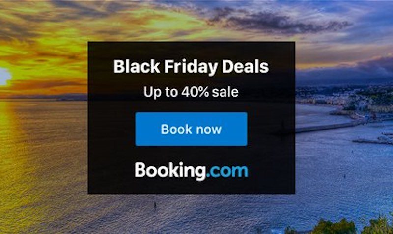 40% Off Black Friday and Cyber Weekend SALE for Hotels at Booking.com
