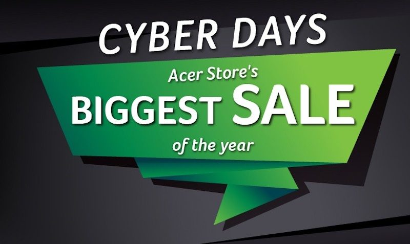 Cyber Days Selected Products using promo code at Acer