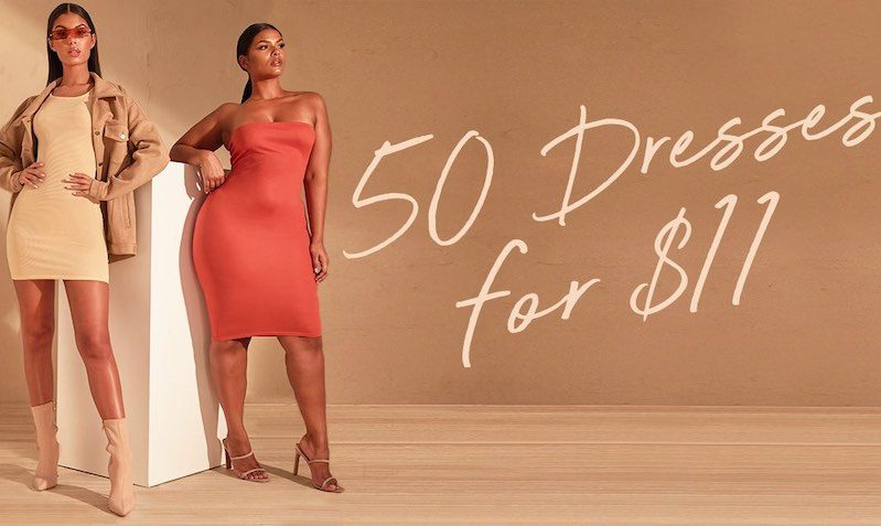 50 Dresses for $11 Discount SALE at PrettyLittleThing