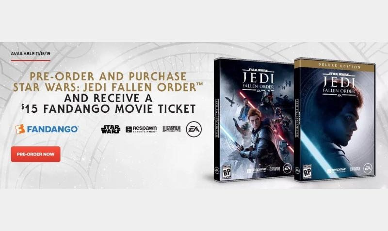 Pre-Order Star Wars Jedi: Fallen Order to receive a $15 Fandango Movie and bonus digital content such as an Orange Lightsaber blade color and more.